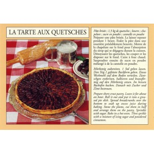 Postcard alsatian recipe - &quot;La tarte aux quetsches&quot; - (plum pie)