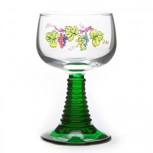 6 verres à vin d'alsace pied torsadé, motif vignoble