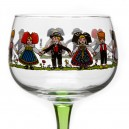 "6 Alsace's wine glasses  ""HANSI"" decor"