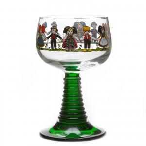 6 Verres à vin d'Alsace pied torsadé motif HANSI