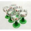 "6 Alsace's wine glasses twisted stem ""ALSACE"" decor"