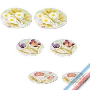 Collection BARBOTINES  - Assiettes fleurs Série de 6  décors (2x3) - Diam  20 cm -  Lot de 1