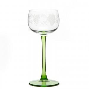 6 verres à vin blanc d'Alsace, motif grappe