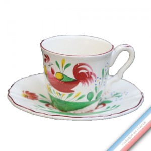 Collection REVERBERE COQ - Tasse et soucoupe café - 0,11L/15cm  -  Lot de 4