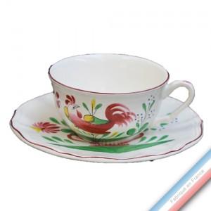 Collection REVERBERE COQ - Tasse et soucoupe thé basse - 0,21L/16cm -  Lot de 4