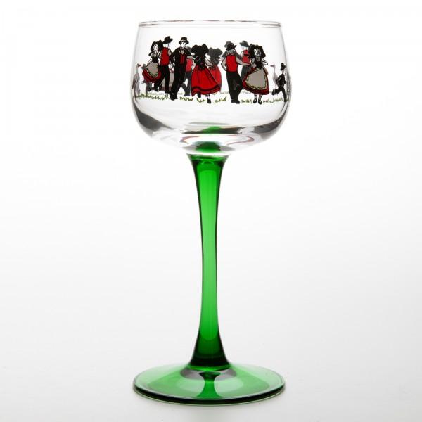 6 verres vin du rhin motif danse alsace. Black Bedroom Furniture Sets. Home Design Ideas