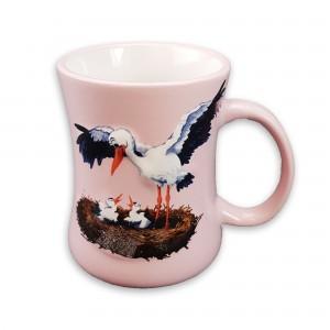 """Mug en céramique """"Cigogne"""" rose"""