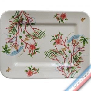 Collection FLEUR DE CORAIL - Plat rectangulaire 'Grand' - 42,5 x 32,5 cm -  Lot de 1