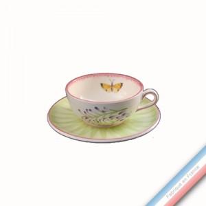 Collection VENT DE FLEURS - Tasse et soucoupe thé basse - 0,20L/16 cm  -  Lot de 4