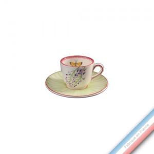 Collection VENT DE FLEURS - Tasse et soucoupe thé haute - 0,19L/16 cm  -  Lot de 4