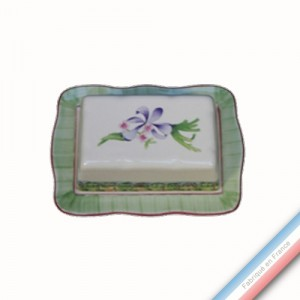Collection VENT DE FLEURS - Beurrier rectangle - 19,5 x 14 cm -  Lot de 1