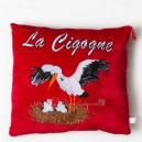"Embroidered square Cushion ""La cigogne"" (the stork)"