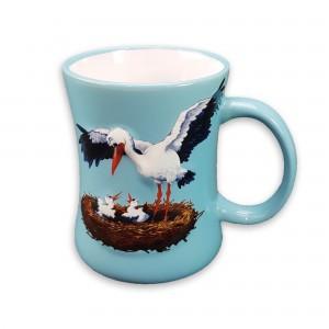 """Mug en céramique """"Cigogne"""" bleu"""