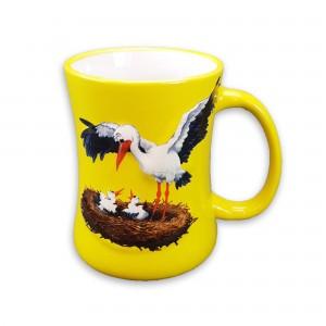 """Mug en céramique """"Cigogne"""" jaune"""