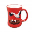 "Red ceramic mug ""Cigogne"" (Stork)"