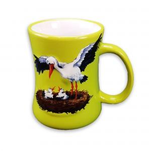"Mug en céramique ""Cigogne"" vert"