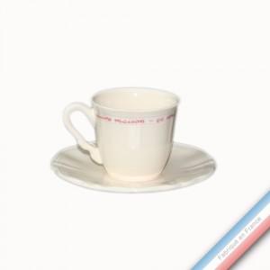 Collection SERVICE DE FAMILLE - Tasse et soucoupe café - 0,11L/15cm  -  Lot de 4