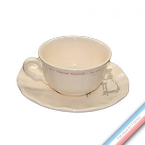 Collection SERVICE DE FAMILLE - Tasse et soucoupe déjeuner - 0,40L/19cm  -  Lot de 4