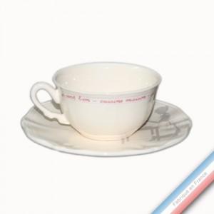 Collection SERVICE DE FAMILLE - Tasse et soucoupe thé basse - 0,21L/16cm -  Lot de 4