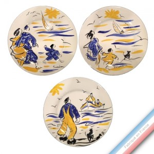 Collection BLEU SALE - Assiette plate - Diam  27 cm -  Lot de 3