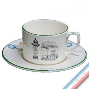 Collection PARIS - Tasse et soucoupe thé gardenia - 0,23 L - 16 cm -  Lot de 4