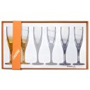 Box of 6  coloured crystal flutes