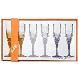 Coffret de 6 flûtes à champagne en cristal coloré