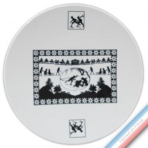 Collection PAPIERS DECOUPES NOIR fond BLANC - Assiette présentation - Diam  32 cm -  Lot de 1