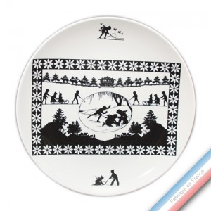 Collection PAPIERS DECOUPES NOIR fond BLANC - Assiette plate - Diam  26,5 cm -  Lot de 4