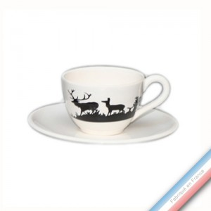 Collection PAPIERS DECOUPES NOIR fond BLANC - Tasse et soucoupe café - 0,05L / 11,5cm -  Lot de 4