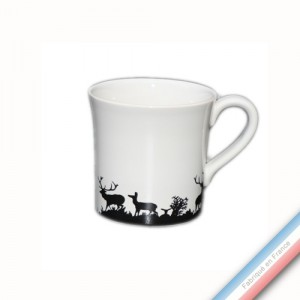 Collection PAPIERS DECOUPES NOIR fond BLANC - Mug - H 9,5 cm - 35 cl -  Lot de 4