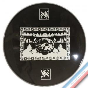 Collection PAPIERS DECOUPES BLANC fond NOIR - Assiette présentation - Diam  32 cm -  Lot de 1