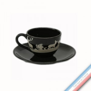 Collection PAPIERS DECOUPES BLANC fond NOIR - Tasse et soucoupe café - 0,05L / 11,5cm -  Lot de 4