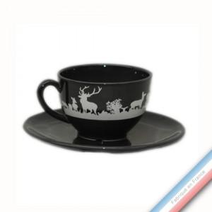 Collection PAPIERS DECOUPES BLANC fond NOIR - Tasse et soucoupe thé - 0,20 L / 15,5 cm -  Lot de 4