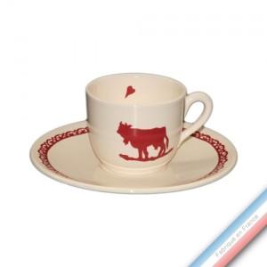 Collection MONTEE A L'ALPAGE - Tasse et soucoupe  thé haute - 0,19L/16 cm  -  Lot de 4