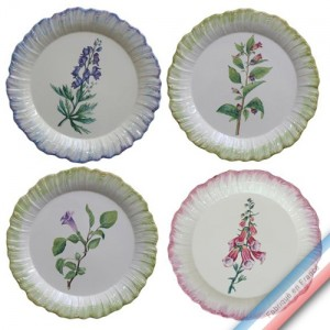 Collection ECLECTICA - Coffret 4 assiettes plates fleurs poisons - 28 x 28 x 6 cm -  Lot de 1