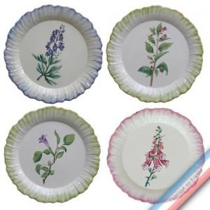 Collection ECLECTICA - Coffret 4 assiettes plates fleurs poisons - 28 x 28 x 6 cm -  Lot de 1