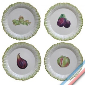 Collection ECLECTICA - Coffret 4 assiettes plates fruits - 28 x 28 x 6 cm -  Lot de 1