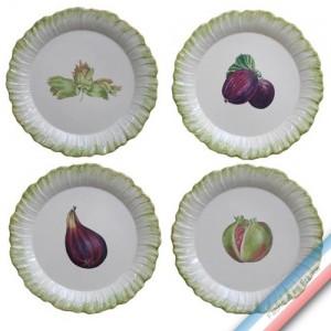 Collection ECLECTICA - Coffret 4 assiettes plates fruits - 28 x 28 x 6 cm -  Lot de 1