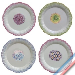 Collection ECLECTICA - Coffret 4 assiettes plates bouquets - 28 x 28 x 6 cm -  Lot de 1