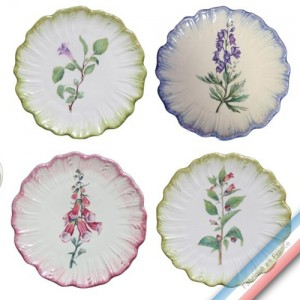 Collection ECLECTICA - Coffret 4 assiettes pain fleurs poisons - 17 x 17 x5 cm -  Lot de 1