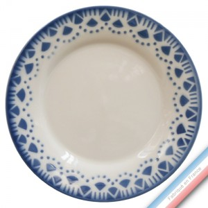 "Collection FERME ""1950"" - Assiette plate Bleu - Diam  27 cm -  Lot de 4"