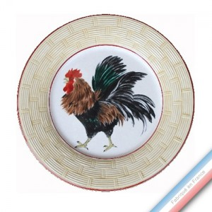 Collection COUR NORMANDE PAILLE - Assiette plate - Diam  26,5 cm -  Lot de 4
