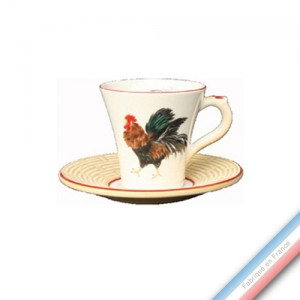 Collection COUR NORMANDE PAILLE - Tasse et soucoupe café - 0,05L / 11,5cm -  Lot de 4