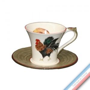 Collection COUR NORMANDE BRONZE - Tasse et soucoupe déjeuner - 0,25L / 17,5cm -  Lot de 4