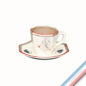 Collection CHANTILLY - Tasse et soucoupe café - 0,08 L - 12 cm -  Lot de 4