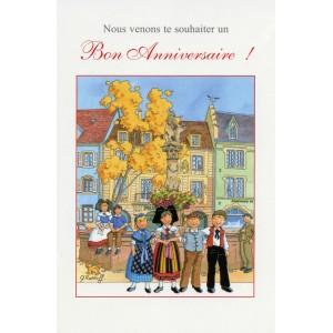 """Carte de voeux Alsace Ratkoff - """"Bon anniversaire"""" -  fontaine"""