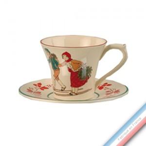 Collection JEUX D'HIVER - Tasse et soucoupe déjeuner - 0,28L / 17,5cm -  Lot de 4
