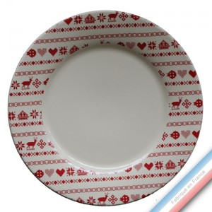 Collection MONTAGNE ROUGE - Assiette plate - Diam  27 cm -  Lot de 4
