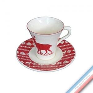 Collection MONTAGNE ROUGE - Tasse et soucoupe thé - 0,20L / 15 cm -  Lot de 4